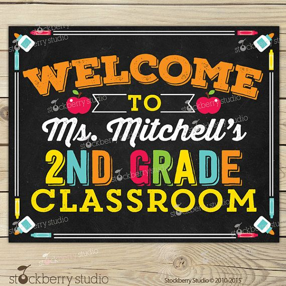 Classroom Welcome Sign Classroom Sign by stockberrystudio