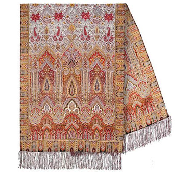 "27x78"" Russian Scarf Pavlovo Posad, 100% soft wool, Silk handmade fringe, up to 16 colors, Vintage design"