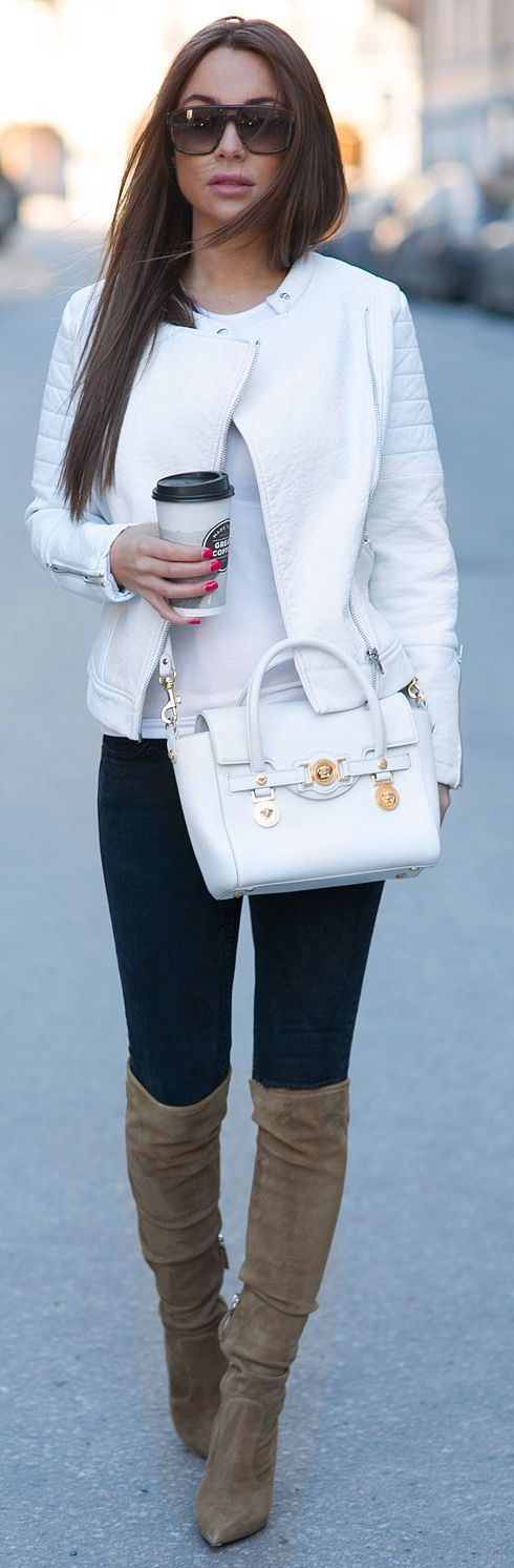 White jacket, bag, trousers. fall autumn women fashion outfit clothing style apparel @roressclothes closet ideas