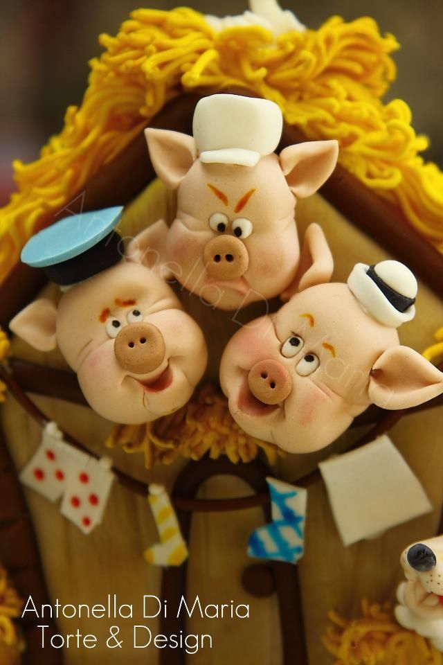 3 Little Pigs porcelana fria polymer clay pasta francesa masa flexible fimo topper figurine modelado modelling