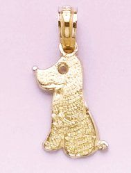 Gold Charm Pendant Dog Sitting Up 14K Gold. Charm Pendant. Made in the U.S.A.. Item will be shipped in 14 days..  #MillionCharms #Jewelry