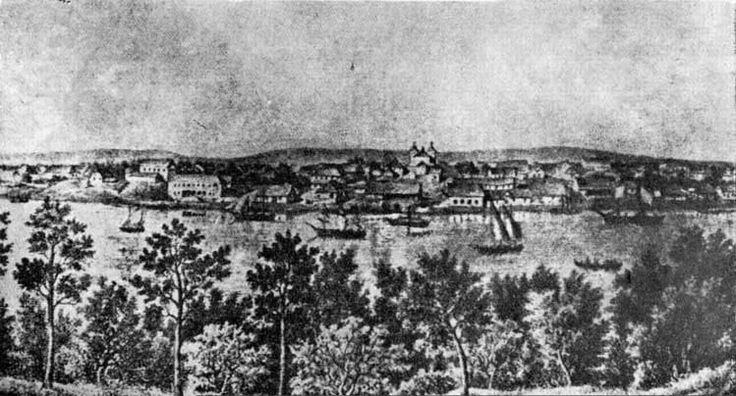 Grabado de Valdivia en 1862. Dibujo aparentemente de Ernesto Frick. Imagen: Memoria Chilena