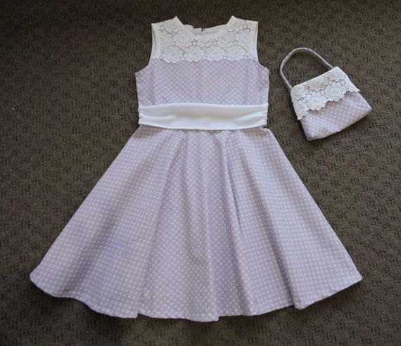 Girls lilac cotton dress with vintage guipure lace by VSLFashions