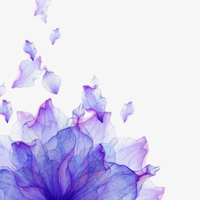 Watercolor Petals Vector Watercolor Clipart Watercolor Purple
