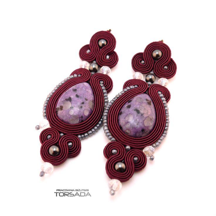 Piękne wiśniowe kolczyki sutasz na sztyfcie/ Beautiful cherry dangle soutache earrings