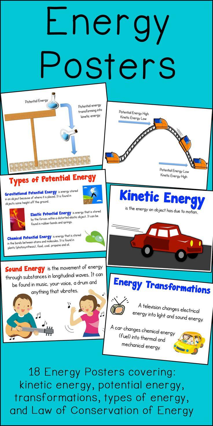 energy poster set kinetic potential transformations poster. Black Bedroom Furniture Sets. Home Design Ideas
