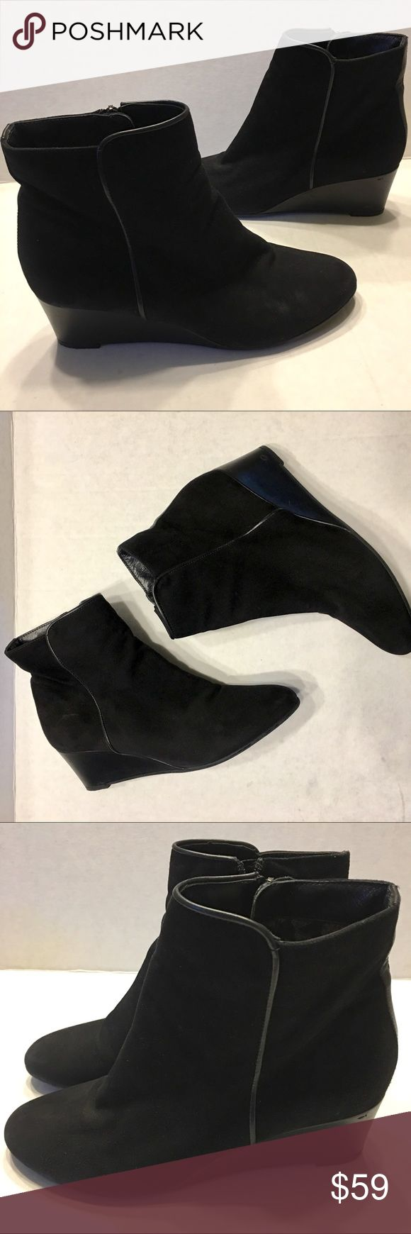 AQUATALIA Black Suede Wedge Bootie Leather 9.5 Aquatalia Black Suede Wedge Boots sz 9.5.  Side Zip.  Almond toe front.  Leather upper. Leather Seam edges. Sku#10001705120 Aquatalia Shoes Ankle Boots & Booties
