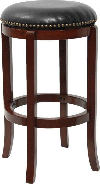29' Backless Cherry Wood Bar Stool with Black Leather Swivel Seat   Trending Furniture And Decor  Pinterest  Cherries, Products and Bar stools