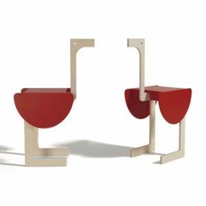 Tavolino in legno un ripiano STRUZZO 67x28xh108 cm in MDF laccato a polveri Rosso