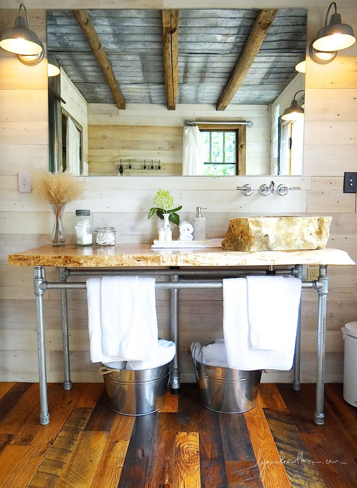 I need to let you in on a little secret … The featured bathroom today is in a forest and it's beside our treehouse....