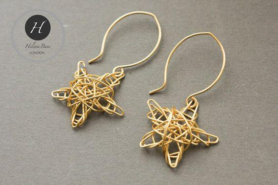 Star earrings Christmas woven star earrings by HelenaBausJewellery