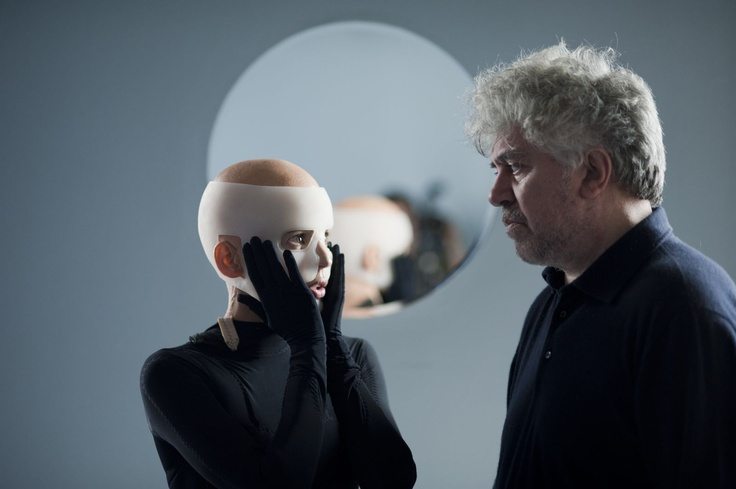Elena Anaya & Pedro Almodovar from the shooting of The Skin I Live In