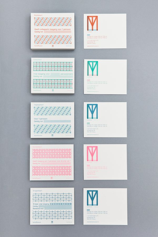 TextielMuseum & TextielLab Identity. Same logo shape different color applications for two sides of the same brand.