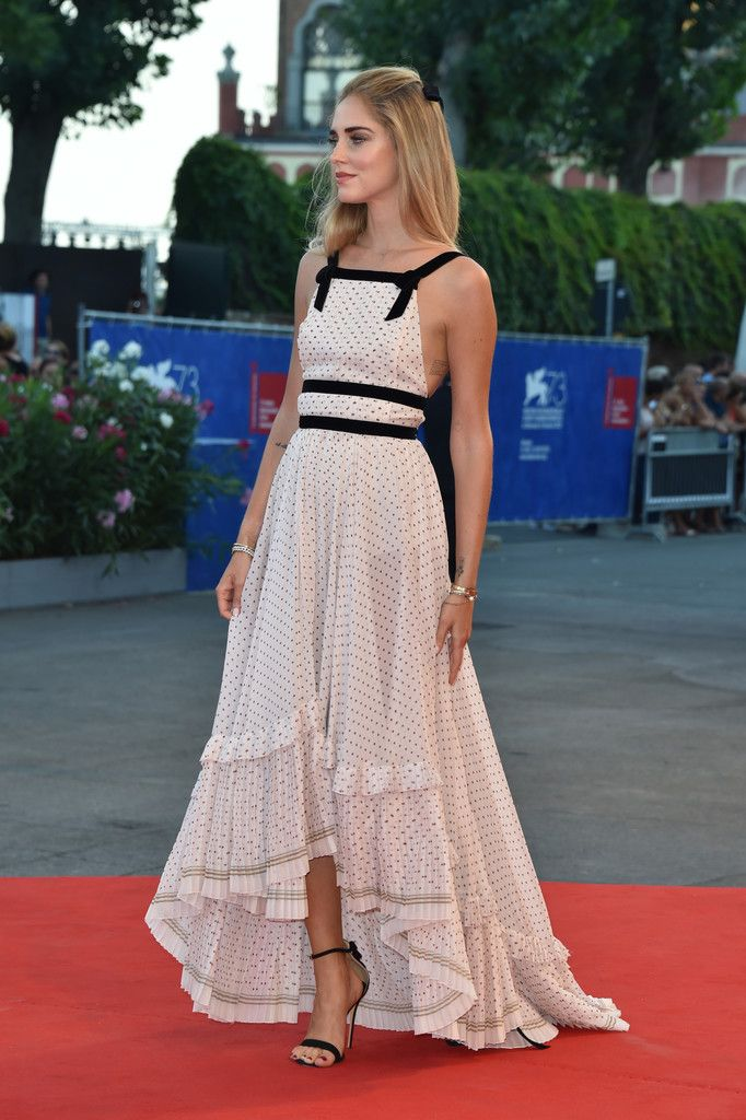 Chiara Ferragni in a black and white pin-dot gown by Philosophy di Lorenzo Serafini
