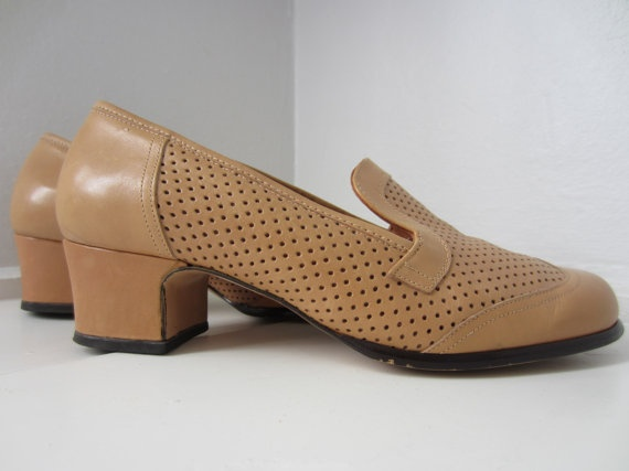 60s/70s Tan Perforated Shoes by Aaltonen, US 7.5 EUR 38 UK 5