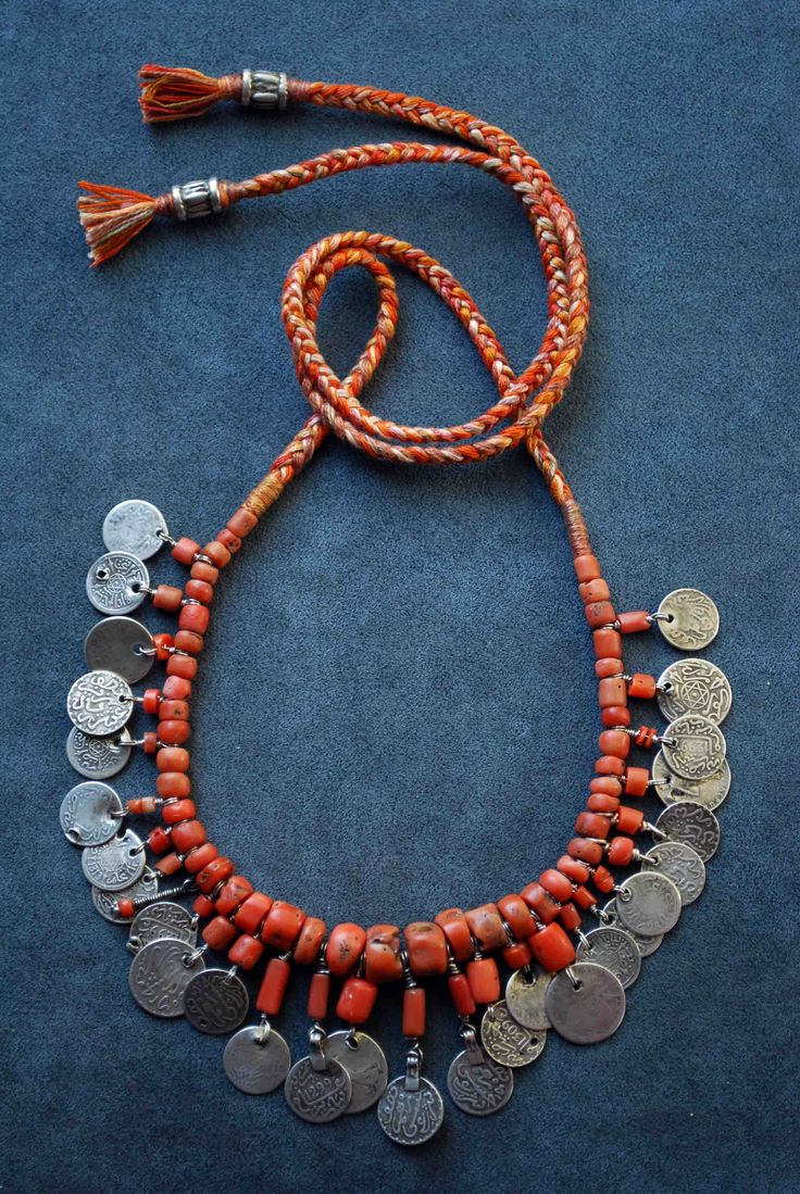 By Carla Alicata | Beautiful old genuine Moroccan coral, combined with old Moroccan coins