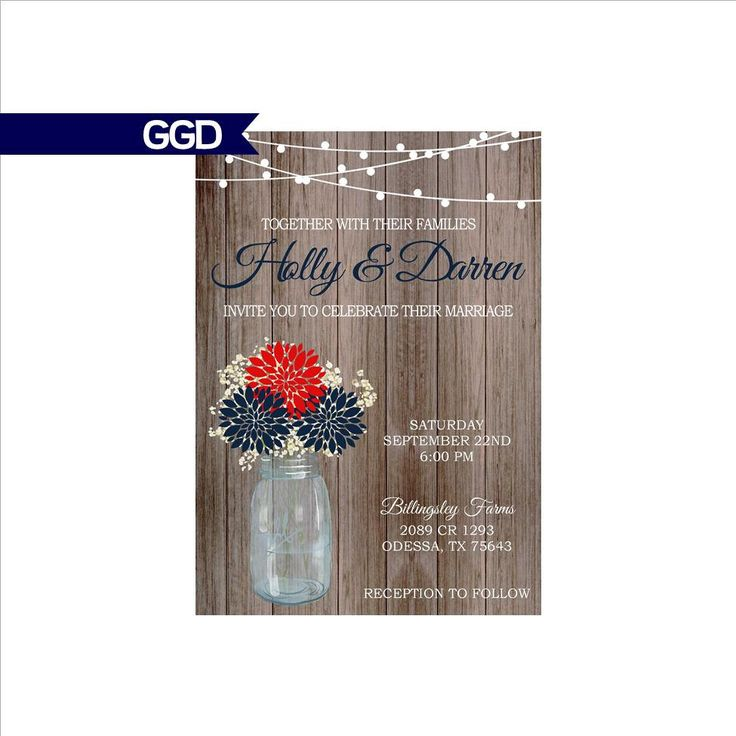 Red White and Blue Wedding Invitation on