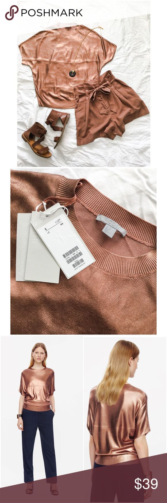 COS // Metallic rose gold top Loose fit top with a metallic coating on a knit. Short sleeve with raw cut finishes. Material is 100 % viscose. Never been worn with tags. COS Tops