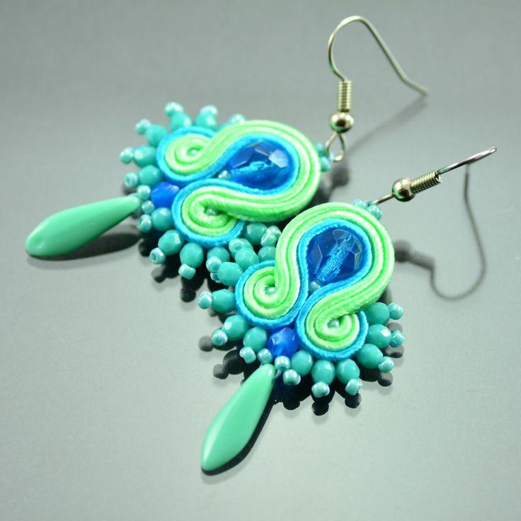 Turquoise Green Soutache Earrings Ikan Todak, Dangle Earrings, Soutache Jewelry, Orecchini Soutache, Hippie Earrings, Gift for Christmas by OzdobyZiemi on Etsy
