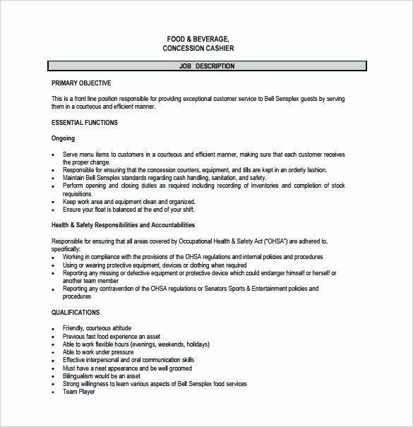 Fast Food Cashier Job Description Resume Awesome Server Resume Description Job Food Service School Assista In 2020 Assistant Jobs Nurse Job Description Job Description