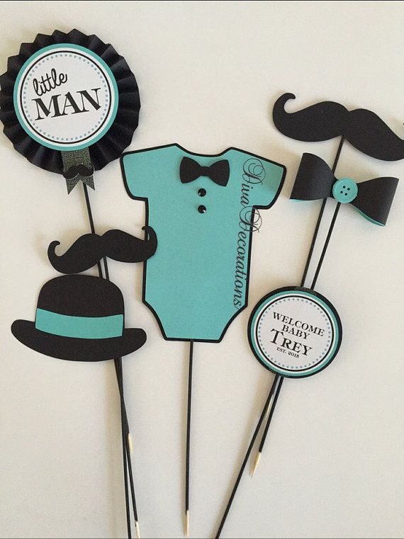Lovely Little Man Mustsche Baby Shower Centerpiece CUTOUTS ONLY