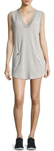 Heroine Sport Sweat V-Neck Sleeveless Athletic Dress, Gray