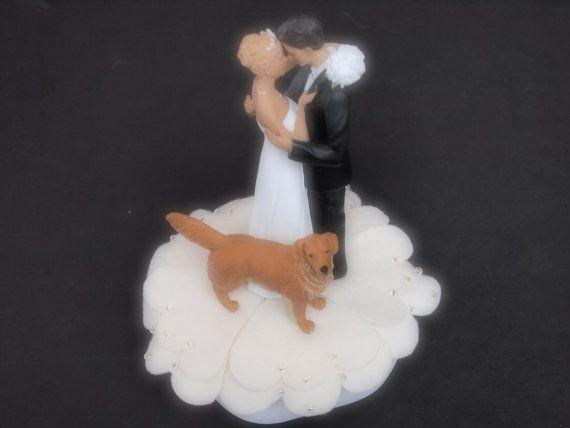 Cake Topper Wedding Ivory Bride Groom Golden by ArtisanFeltStudio
