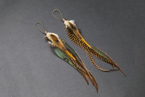 Orecchini piuma lunga 11 pollici in tonalità marrone. Stile del hippie. Gioielli del hippie.