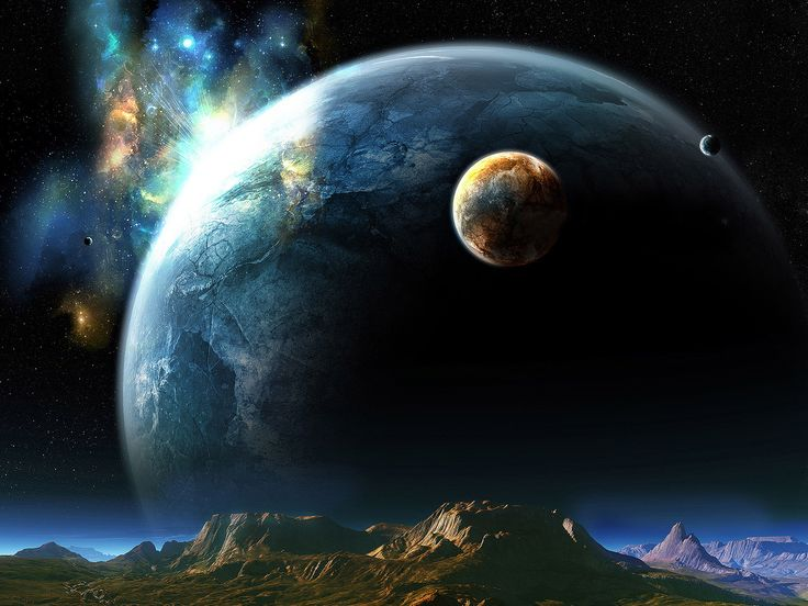 Rocky Mountain Free Wallpaper | Free Wallpapers - huge planet over a rocky mountain wallpaper