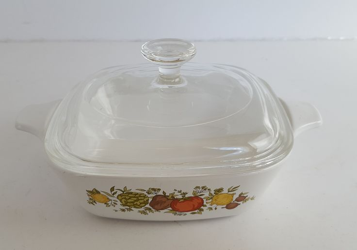 Vintage Kitchen Glassware Small Dish Pyrex Lid Corning Ware Base