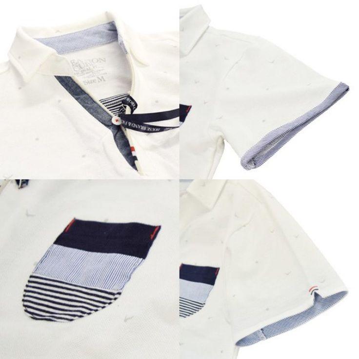 ポロシャツ 半袖シャツ スキッパー カノコ プリント 総柄 カモメ マリン トップス メンズ ホワイト ネイビー ブルーグリーン 夏 3