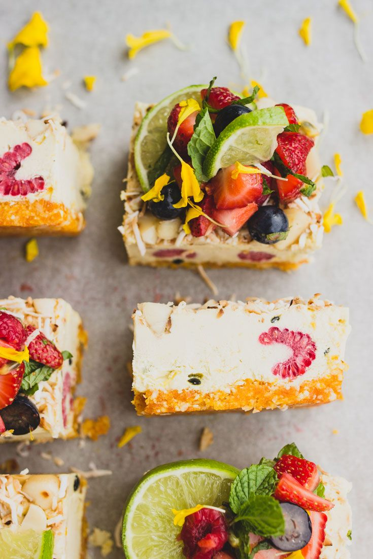 """""""end of summer"""" tropical slice with fresh berry salsa"""
