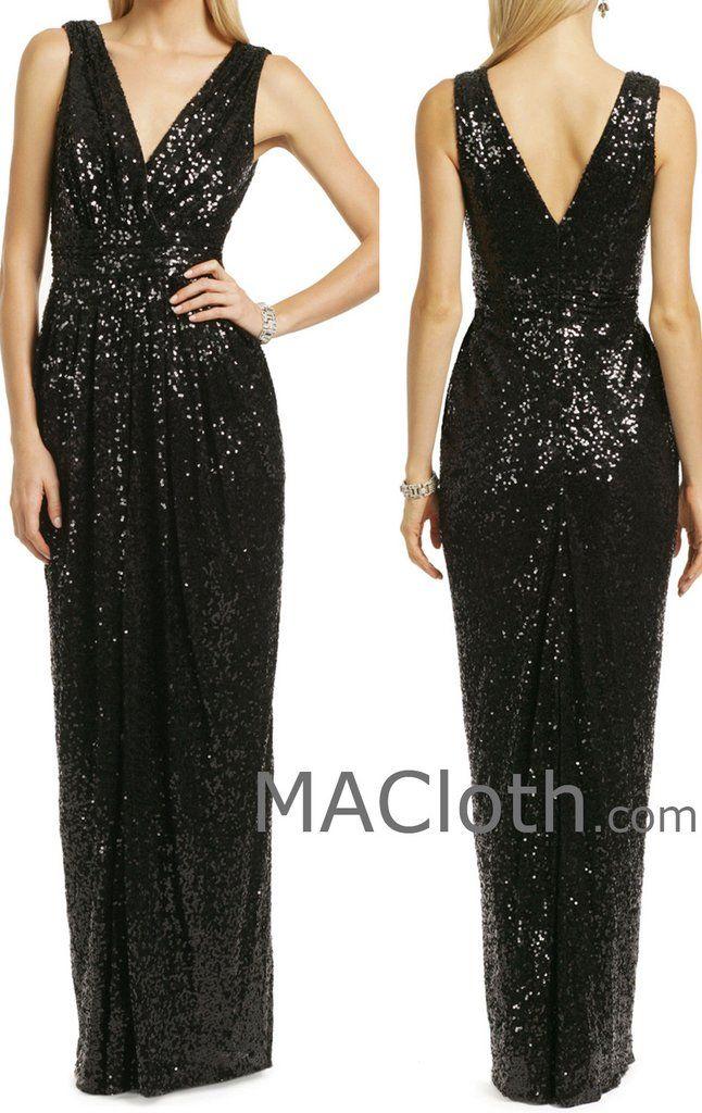 MACloth Women Straps V Neck Sequin Long Black Bridesmaid Dress Formal Evening…