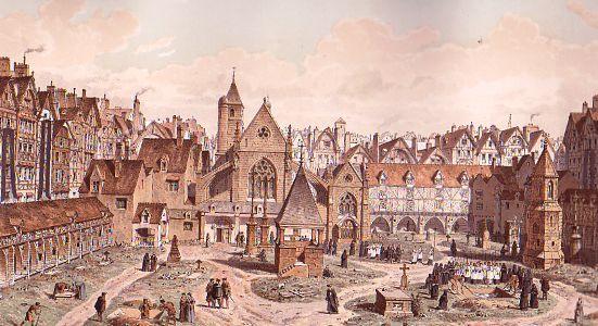 Cimetière des Innocents en 1550 (gravure de Fedor Hoffbauer). On reconnait sur la gauche le Vieux Charnier et au fond, bordant la rue Saint-Senis, l'église des Saints-Innocents et le Petit Charnier. Au premier plan, le prêchoir et sur la tour Notre-Dame des Bois se trouvaient sur l'actuel emplacement de la rue Pierre-Lescot. A l'extême droite, on devine le long de la rue de la Ferronnerie, le début du Charnier des Lingères. La fontaine de Jean Goujon existe bien mais elle n'est pas visible