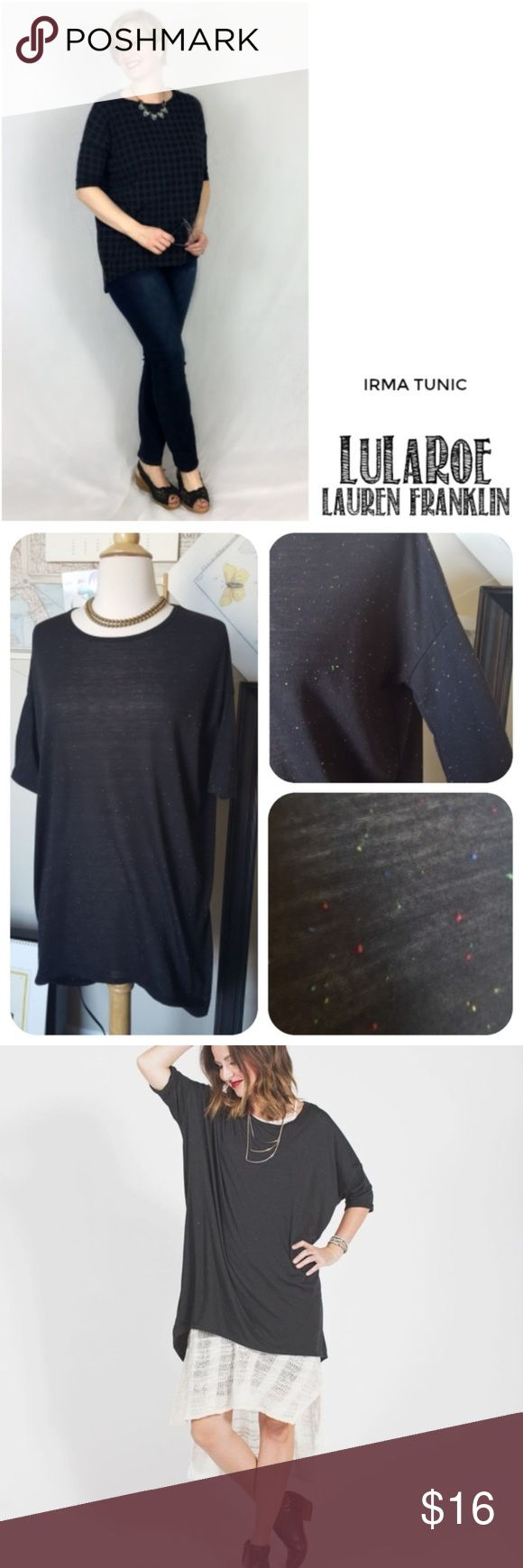 """LulaRoe Irma Top in Black Confetti LuLaRoe's Irma top is a loose, knit """"high-low"""" tunic with fitted mid -length sleeves. The extra length in the back makes it a great compliment to our leggings – especially for all those wanting some extra coverage for their, ahem, assets. Wear this top and you might never take it off.  Black confetti colorway. Size extra extra small, but could fit larger. Excellent condition. LuLaRoe Tops Blouses"""