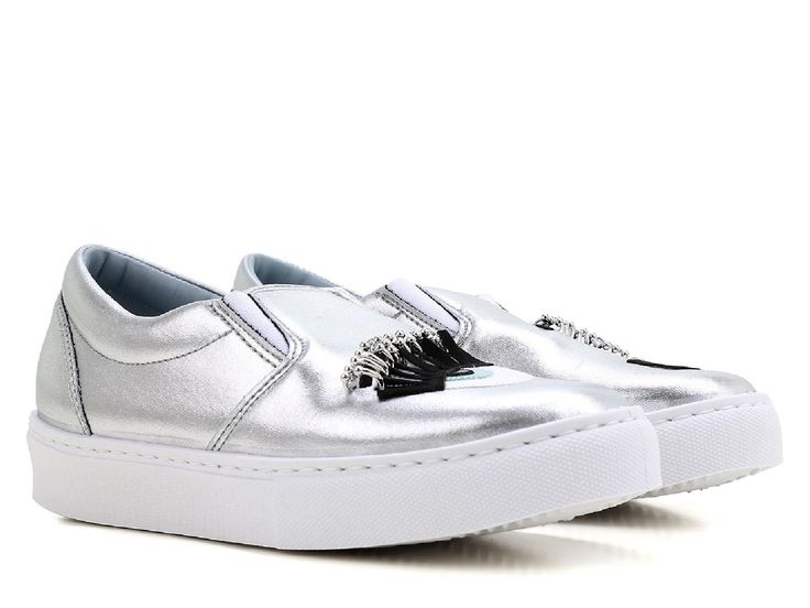 Chiara Ferragni silver metallic Leather slip-ons sneakers - Italian Boutique €179