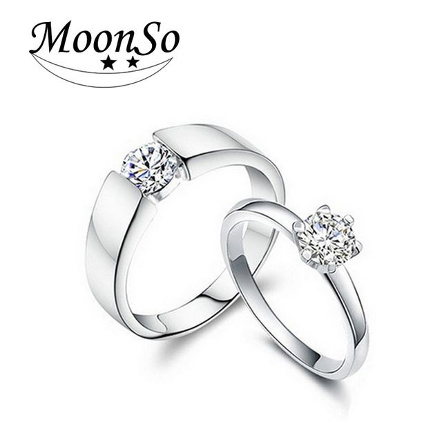 Moonso 925 Sterling Silver Rings with Couple Wedding Ring Sets His and Her Matching for Couple jewelry 2017 new R142