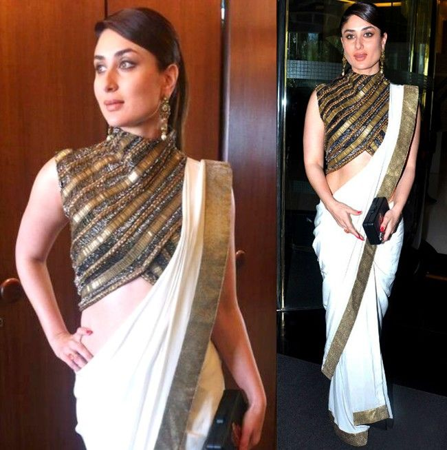 Kareena Kapoor in Anand Kabra Plain sarees can be dressed up with statement blouse pieces. This ensembe is a perfect case in point. That high neck beaded blouse is to die for and can be worn so many different ways with so many different coloured sarees or lehengas. Indian designer - Indian couture #thecrimsonbride