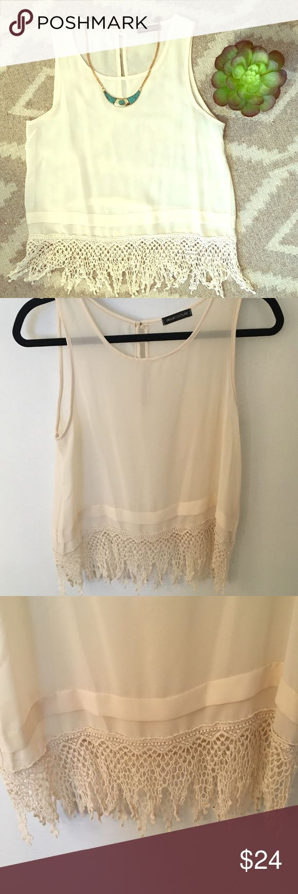 UO Sheer Crochet Top This fun sheer top would be perfect for date night, casual/cute day wear, or even a night out! Features a super fun and unique hemline with crochet details. Pair this with a cami, bralette or bandeau and you're ready to go! So many ways to dress this up or down. Can fit a S or M. Urban Outfitters Tops