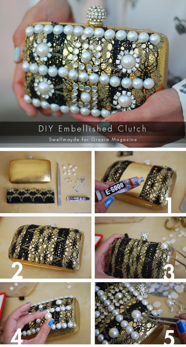 swellmayde: DIY   Embellished Clutch for Grazia Magazine