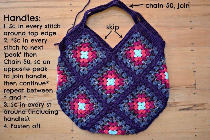 Crochet Granny Bag By Janette - Free Crochet Pattern - (thegreendragonfly.wordpress)