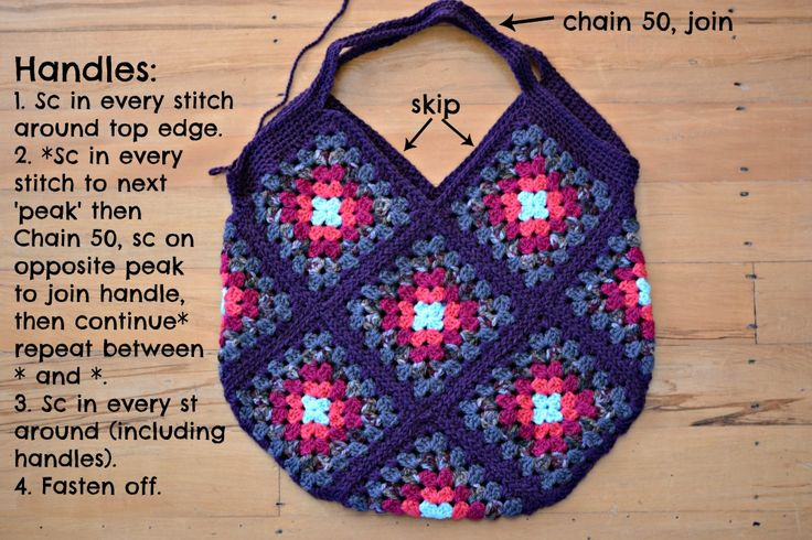 Crochet Granny Bag By Janette - Free Crochet Pattern - (thegreendragonfly.wordpress)