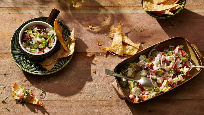 Lime-cured fish with avocado (ceviche con aguacate). Clean and fresh with a pleasing crunch.