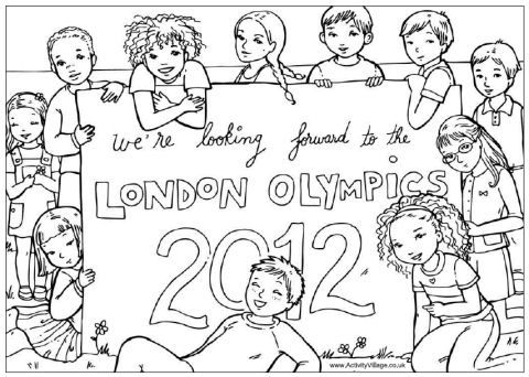 London Olympics Coloring Page  http://www.activityvillage.co.uk: 2012 Olympics, Olympics England Party, Stuff, Kids Ideas, London Olympics, Sports, Olympics Kids, Elves
