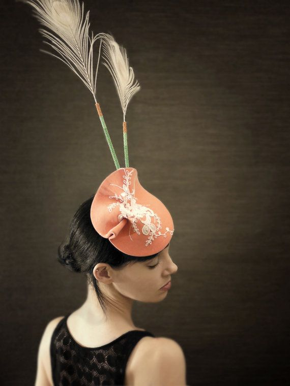 Sculptural Pink Felt Fascinator With White Lace and by pookaqueen, $240.00