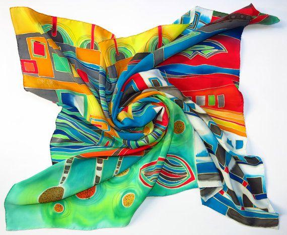 Bright Hundertwasser silk scarf. Rainbow scarf. Hand by SilkMood