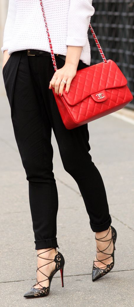 Christian Louboutin Black Baroque Cutout Leather Lace Up Heels by Brooklyn Blonde with Red leather Chanel Handbag