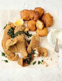Fried catfish with hush puppies and tartare sauce
