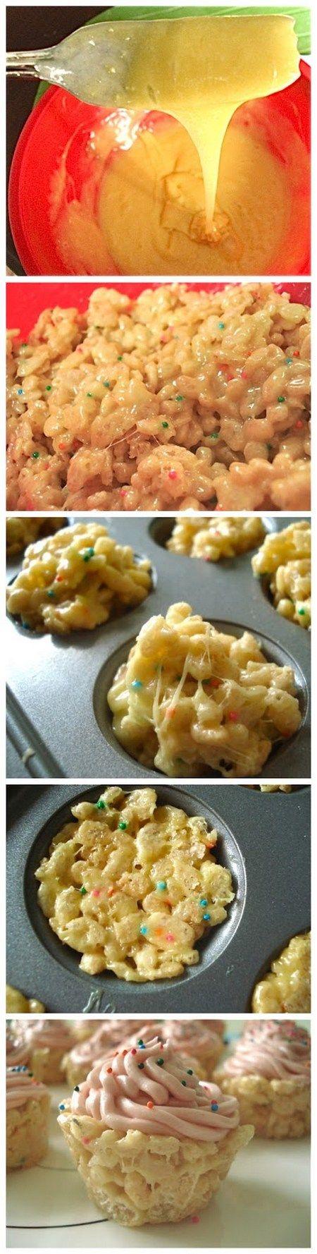 Cake Batter Rice Krispie Cupcakes | foodsweet | foodsweet