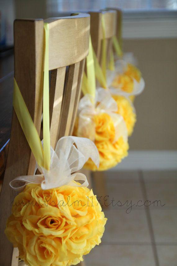 6 inch wide canary yellow rose pomander balls. kissing balls. pom pom. Wedding isle decoration. $10 each. Custom orders. www.Psalm117.Etsy.com